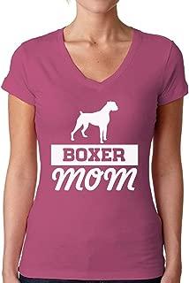 Awkward Styles Women's Boxer Mom Graphic V-Neck T Shirt Tops Boxer Pug Lover Gift