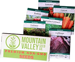 Salad Garden Seed Collection | Basic Assortment | 6 Non-GMO Vegetable Gardening Seed Packets: Lettuce, Carrot, Tomato, Cabbage, More