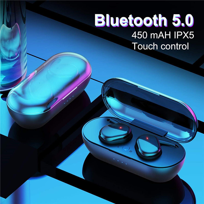 OCUhome True Wireless Earbuds, Bluetooth Headphones, Y30 TWS Bluetooth 5.0 Earphone Portable Touching Control Waterproof in-Ear Wireless Earpiece for Sports Black