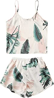 Shein Women's Summer Tropical Print Cami Sleepwear Two Piece Pajama Set