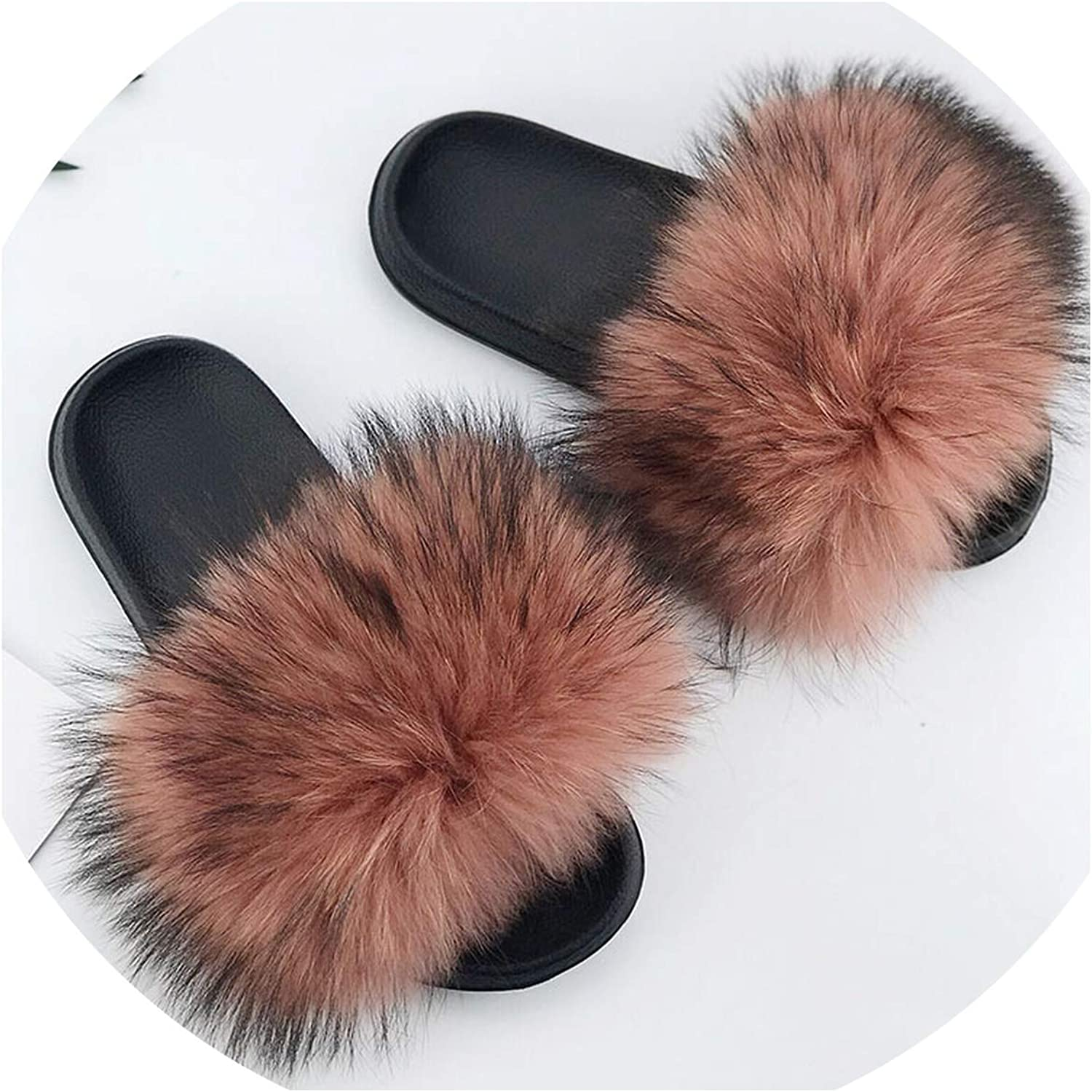 Just XiaoZhouZhou 28 colors Real Fur Slippers Women Fox Fluffy Sliders Comfort with Feathers Furry Summer Flats Sweet Ladies shoes Plus Size 36-45,22,7.5