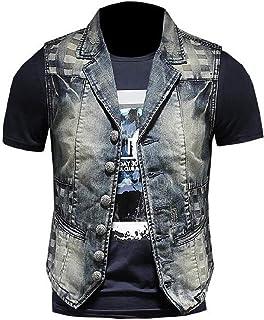 FSSE Men Vintage Lapel Sleeveless Embroidery Denim Vest Jacket Coat