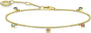 Thomas Sabo - Pulsera de piedras de colores doradas, plata de ley 925, longitud de 16-19 cm