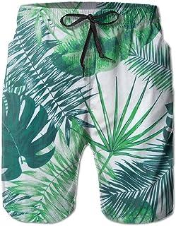 Lixinli Men's Green Beach Leaves Boardshorts Beach Shorts