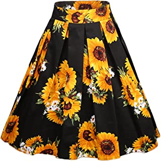 Women's Vintage A-line Printed Pleated Flared Midi Skirts
