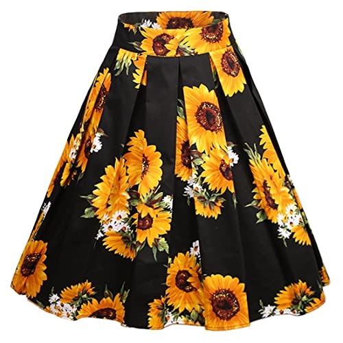47a055e39376 Dressever Women's Vintage A-line Printed Pleated Flared Midi Skirts