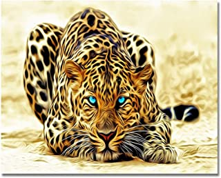 LIUDAO Paint by Number Kits with Brushes and Acrylic Pigment Oil Painting on Canvas 16x20 Inches Without Frame (Leopard)