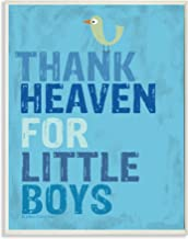 The Kids Room by Stupell Thank Heaven For Little Boys With Bird Rectangle Wall Plaque, 11 x 0.5 x 15, Proudly Made in USA