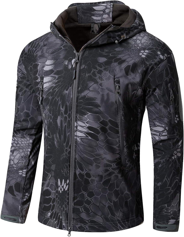 YFNT Men's Military Tactical Jackets Softshell Winter Warm Fleece Hooded Coat Outdoor Hiking Hunting Jacket