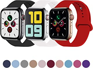 Idon 3-Pack Sport Band Compatible for Apple Watch Band 38MM 40MM 42MM 44MM, Soft Silicone Sport Bands Replacement Strap Compatible with Apple Watch Series 5 iWatch Series 4/3/2/1 Sport Nike+ Edition