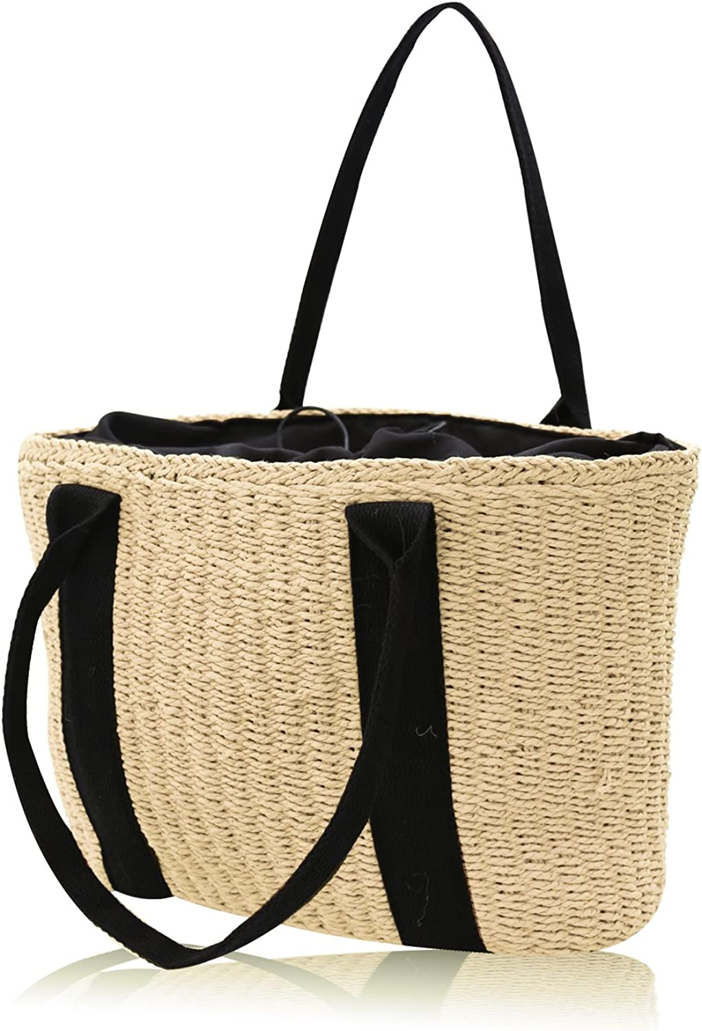 HJR 2018 Women Handwoven handbag made of Natural straw For Holiday, Beach, Leisure Highcapacity Tote Bag color Beige