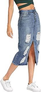 Women's Split Front Ripped Faded Sheath Bodycon Denim Skirt