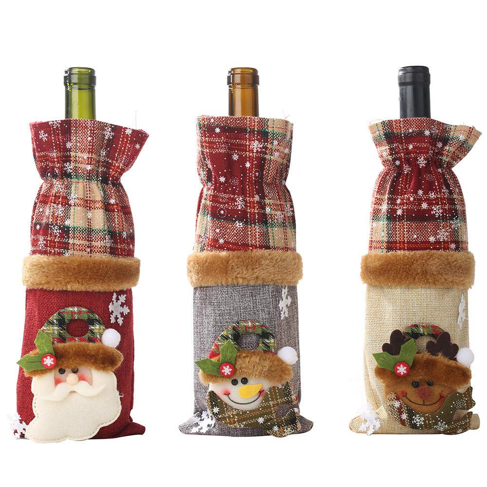 LQZDXD Bolsa De Regalo De Calcetín Navideño3 Piezas Decoraciones Navideñas Botella De Vino Conjunto Tela Escocesa Botella De Lino Vino Decorativo Botella De Champán Bolsa: Amazon.es: Hogar