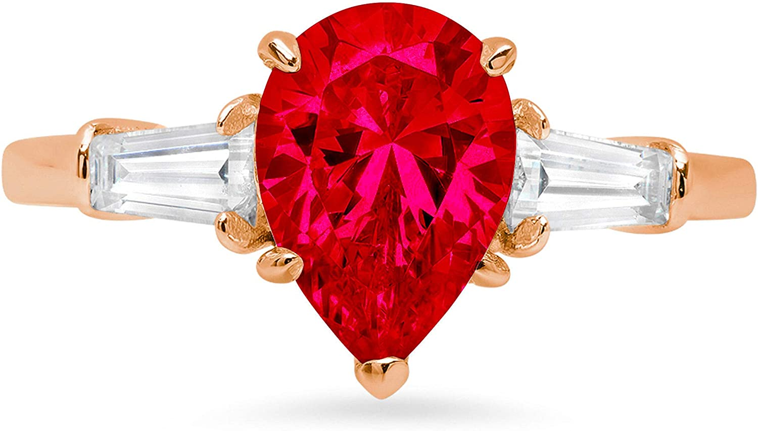 2.44ct Pear Baguette cut 3 stone Solitaire with Accent Flawless Ideal VVS1 Simulated CZ Red Ruby Engagement Promise Statement Anniversary Bridal Wedding Designer Ring 14k Rose Gold
