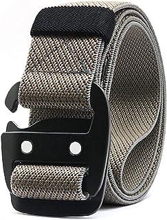 WYuZe Mens Tactical Belt Military Elastic Stretch Duty Riggers Belt Metal Buckle (Khaki elastic belt-metal buckle, Fit wai...