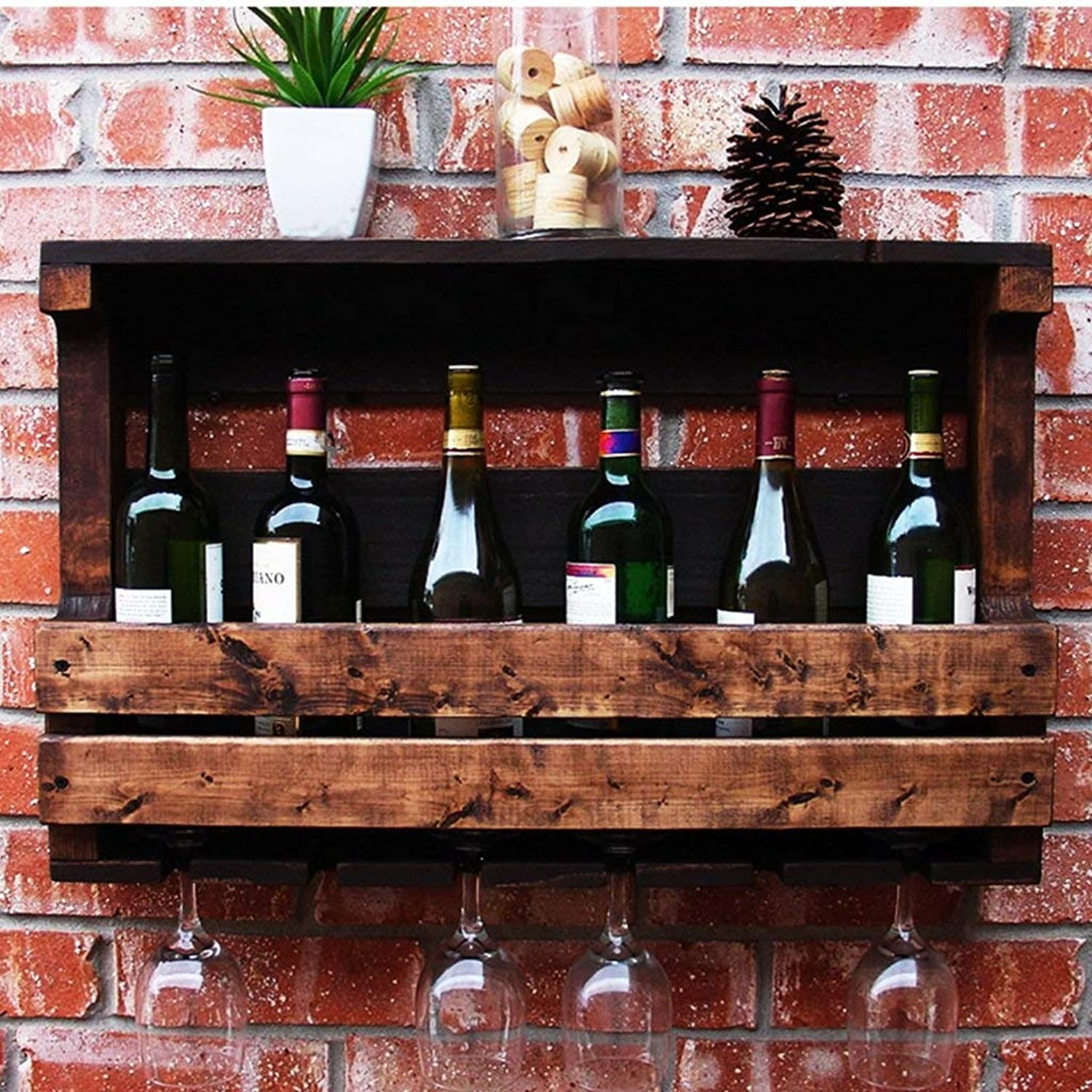 Red Wine Shelf Wall Hanging Solid Wood Hanging Wine Cooler Wall Tall Glass Holder Green Paint Racks & Holders (Size   70  42  13 cm) (Size   50  42  13 cm)