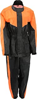 M-BOSS MOTORCYCLE APPAREL-BOS29601-BLK/NEON ORNG-Unisex's two piece motorcycle rain gear.-BLK/NEON ORNG-2X-LARGE