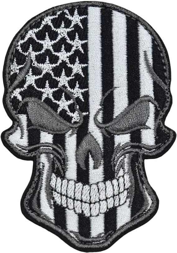 Tactical Combat Backpack Morale Patch Badge EMB Hook and Loop Skull Shield ODG