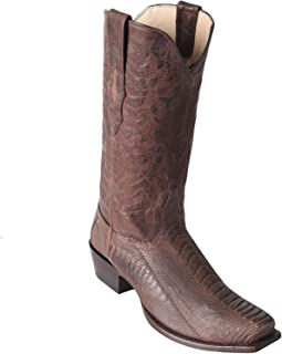 Mens Ostrich Leg Square 7 Toe Cowboy Boots Greasy Finish Brown 9 D