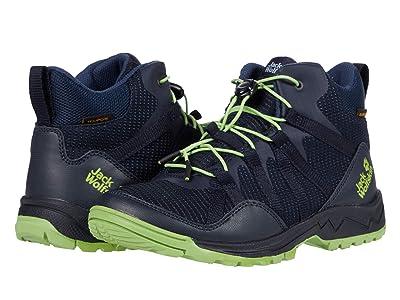 Jack Wolfskin Kids Thunderbolt Texapore Mid (Toddler/Little Kid/Big Kid) (Dark Blue/Lime) Kids Shoes