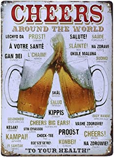 UNiQ Designs Vintage Beer Tin Signs CHEERS AROUND THE WORLD Metal Beer Signs - Bar Signs Vintage Beer Wall decor Alcohol Signs - Funny Signs for Bar Beer Decorations Bar Sign Decor 12x8