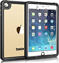 iPad Mini 4 Waterproof Case, Temdan iPad Mini4 Waterproof Case with Adjustable Tablet Stand Built-in Screen Protector Rugged Waterproof Shockproof Case Compatible for iPad Mini 4 (7.9inch)-Black/Clear