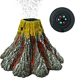 ECtENX Aquarium Volcano Ornament Kit, Air Stone Bubbler with LED Spotlight, Aquarium Air Bubbler Decorations for Fish Tank