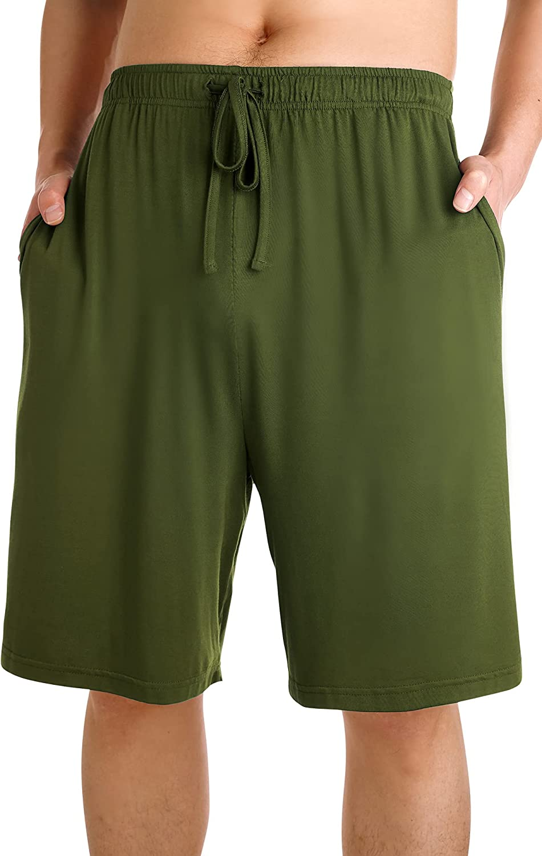 WiWi Men's Bamboo Pajama Shorts with Pockets Lightweight Knit Sleep Bottom Loungewear Plus Size Lounge Bottoms S-3X