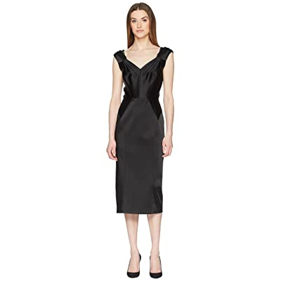 Zac Posen Stretch Satin Sleeveless Dress (Black) Women