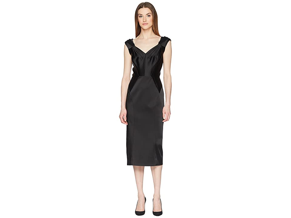 Zac Posen Stretch Satin Sleeveless Dress (Black) Women