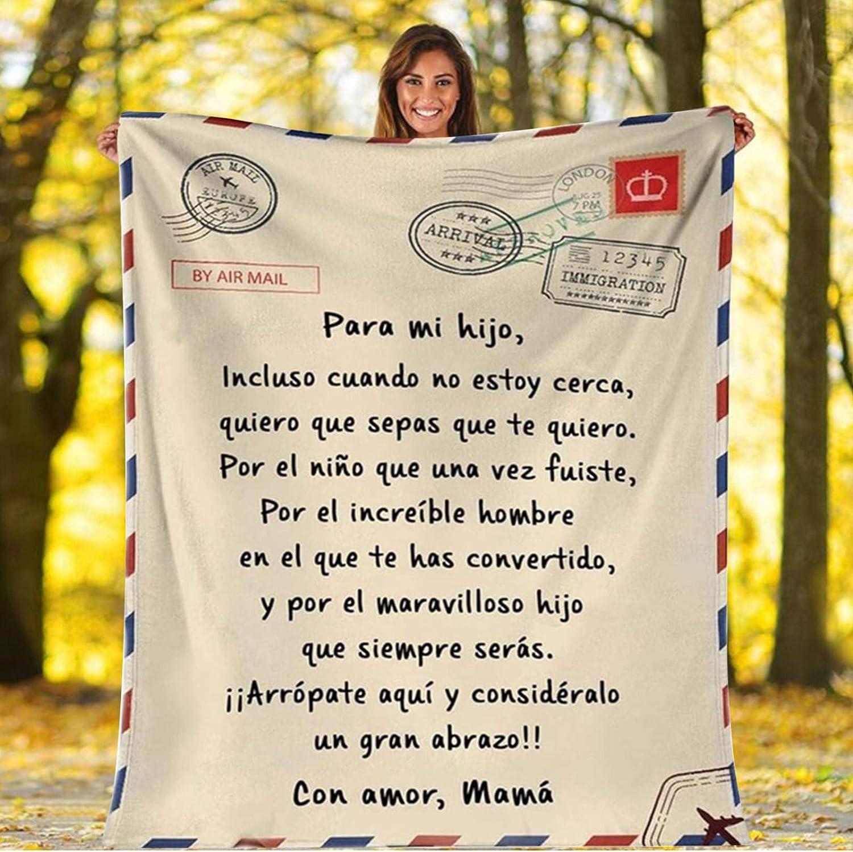Mantas para Sofás De Franela Carta De Mensaje Bendición para Hijo/Hija Regalos de cumpleaños Navidad Español Mensajes Personalizado Manta de Lana Klimaanlage Decke