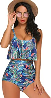 Cover-Ups High Waisted Swimsuits Women 2PC Tummy Control Ruffled Bathing Suits