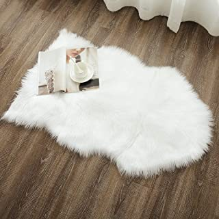 OJIA Deluxe Soft Faux Sheepskin Chair Cover Seat Pad Plain Shaggy Area Rugs for Bedroom Sofa Floor (2ft x 3ft, Ivory White)
