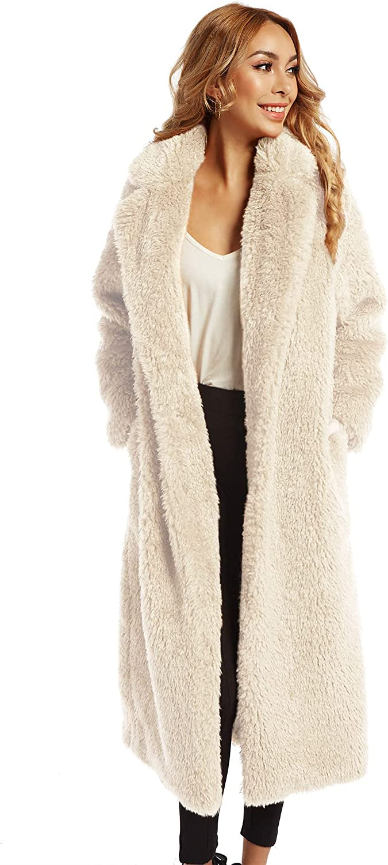 Women famous Faux Fur Winter Coats Comfort Lo Outerwear Limited time sale Front Warm Open