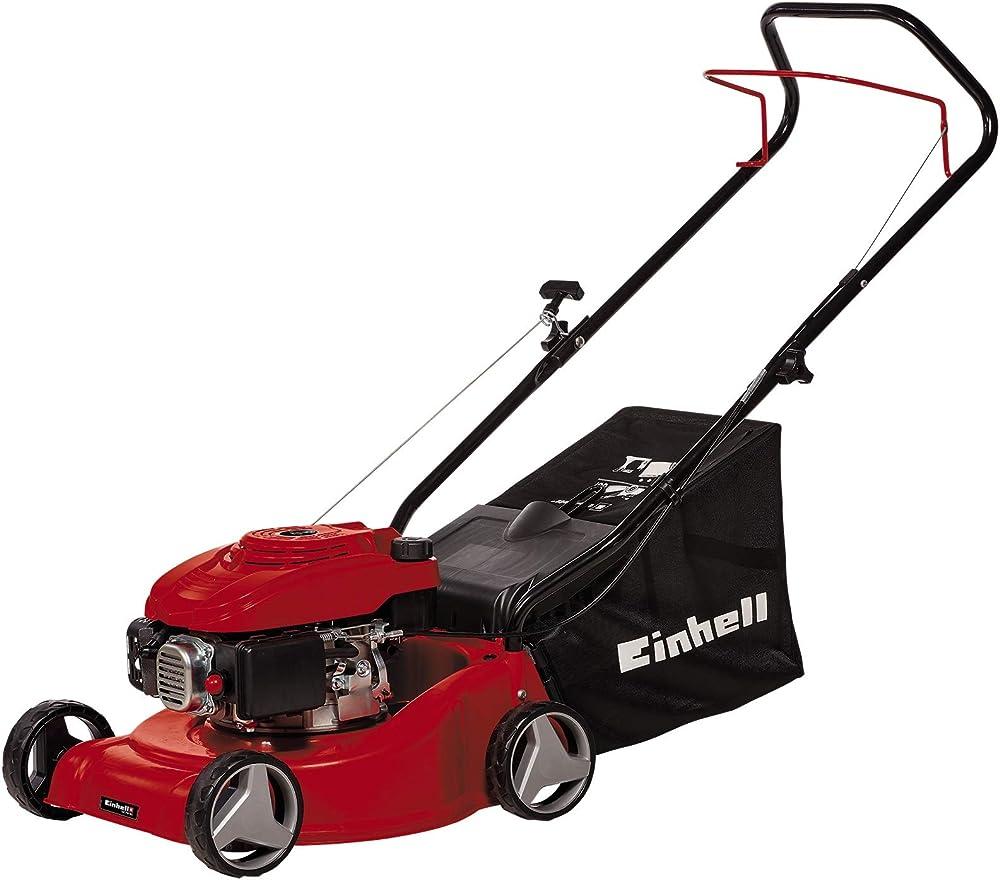 Einhell Cortacésped de gasolina GC-PM 40 (1,2 kW, ajuste de altura de una sola rueda en 3 niveles, larguero de guía plegable, para 800 m²)
