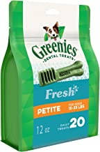 Greenies Freshmint Dental Treats for Petite Dogs, 340g, 20 treats, Puppy/Adult, Small