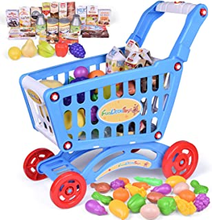 FunLittleToys Toy Shopping Cart with Lights & Music for Kids and Toddler - Includes Pretend Play Food Accessories for Kids Party Favors