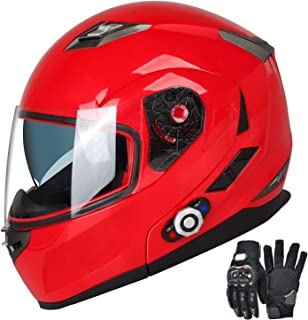 Motorcycle Bluetooth Helmets,FreedConn Flip up Dual Visors Full Face Helmet,Built-in Integrated Intercom Communication System(Range 500M,2-3Riders Pairing,FM radio,Waterproof,XL,Red)