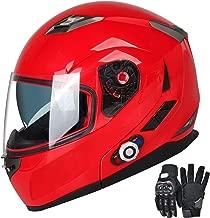 Motorcycle Bluetooth Helmets,FreedConn Flip up Dual Visors Full Face Helmet,Built-in Integrated Intercom Communication System(Range 500M,2-3Riders Pairing,FM radio,Waterproof,XL,Red)