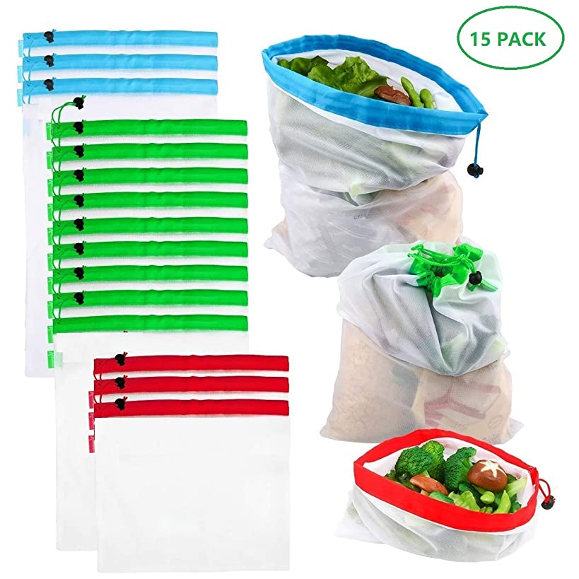 Luka Tech 15PCS See Through Food Eco Friendly Reusable Mesh Produce Bags with Tare Weight on Tags Drawstring Washable For Grocery Shopping Storage Fruit Vegetable Toys