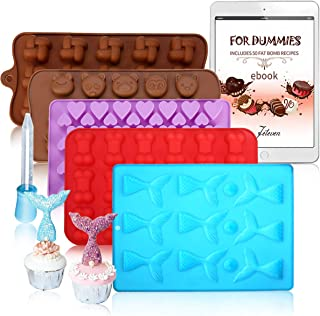 5 Pack Silicone Chocolate Molds Candy Making Mold,Jeteven Fat Bombs Ice Cube,Jelly,Cupcake Baking Mold — Mermaid/Bone/Heart/Cute Animal/Squares Shaped Silicone Molds With a Bonus Dropper
