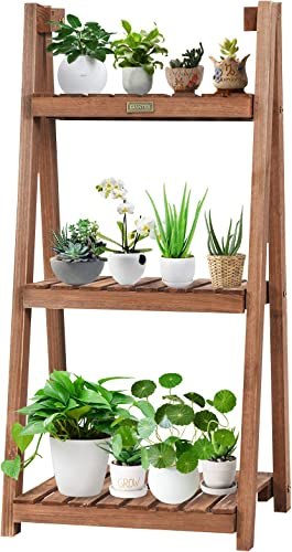 """new arrival Giantex Folding Wooden Plant Stand, 3-Tier Flower Pot Holder, Foldable Plants Display Shelf outlet sale Rack, Free Standing Ladder Plant Shelf lowest for Patio Garden Indoor Outdoor (18""""X15""""X37""""(3-Tier)) outlet online sale"""