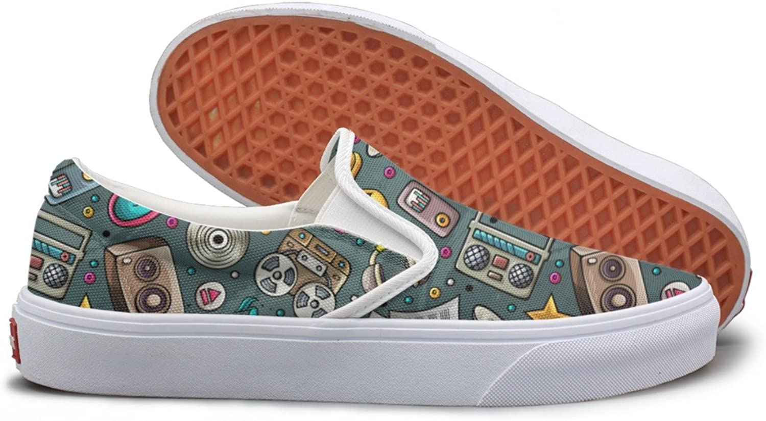 SEERTED Cartoon Musical Instruments Canvas shoes Women Slip On