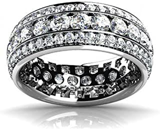 Baguette Cut D//VVS1 Diamond Ladies Wedding Band 10K White Gold 1//5 Carat T.W