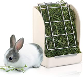 POPETPOP Rabbit Hay Feeder/Rack - Less Wasted Plastic Rabbit Cage Hay Rack Manger for Rabbits/Guinea Pig/Chinchilla/Small Animals