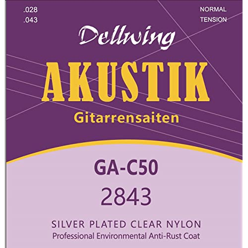 Dellwing guitar strings classical guitar - Premium nylon strings for classical guitar, concert guitar, - 6 strings set – silver-wound and TOP sound