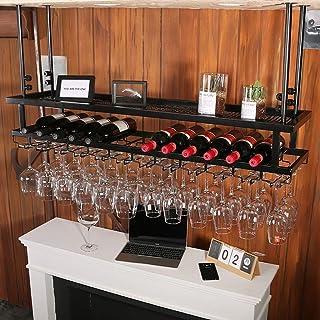 ZLJ 3 Couches de Fer Suspendus Support de Verre à vin casier à vin décoration de Plafond étagère pour Bars Restaurants Cui...
