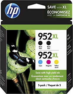 HP 952XL / 952XL (6ZA00AN) Ink Cartridges (Cyan Magenta Yellow Black) 5-Pack in Retail Packaging