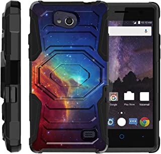 TurtleArmor | Compatible with ZTE Majesty Pro Plus Case | ZTE Majesty Pro Case [Octo Guard] Dual Layer Case Holster Belt Clip Kickstand Cover - Colorful Nebula Galaxy
