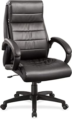 "Lorell Deluxe High-Back Leather Chair, 44.5"" x 27.8"" x 32"", Black"